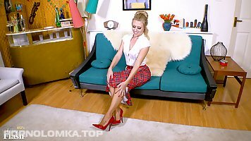 Incredible blonde milf in red shoes with high heels, Michelle Moist is taking off clothes, for fun