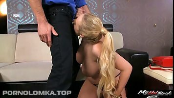 Voluptuous blonde woman, Audrey Argento likes to suck a rock hard dick, until it explodes