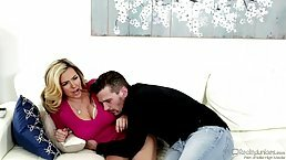Plump, blonde woman with big tits, Danica Dillan got down and dirty with her new lover